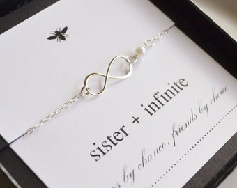Sterling Silver Infinity Sister Necklace with Freshwater Pearl....Friendship, Sister, Best Friend