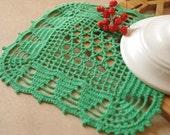 SALE 10% OFF: Green crochet doily Handmade doily Square lace doilies Crochet doilies Crochet table decoration