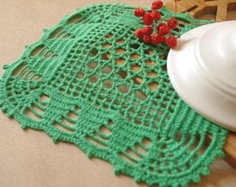 SALE 35% OFF: Green crochet doily Handmade doily Square lace doilies Crochet doilies Crochet table decoration 211