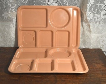 Vintage melmac melamine school trays in pink, cafeteria trays, lunch trays, serving trays