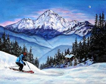 "Fine Art  8 X 10 Print of my Original Painting ""Evening SKier"""