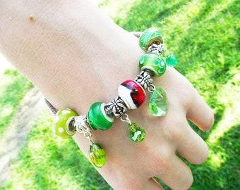 Pokemon Grass Element Bracelet-  handmade beaded pokeball ash green cosplay fantasy- Hidden Treasury
