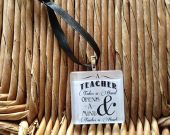 Teacher Ornament - by Maggie Taggie glass tile tags.