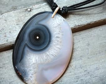 Large 'Eye' Agate Necklace, Boho Necklace, Tribal Necklace, Gemstone Necklace, Birthstone Necklace