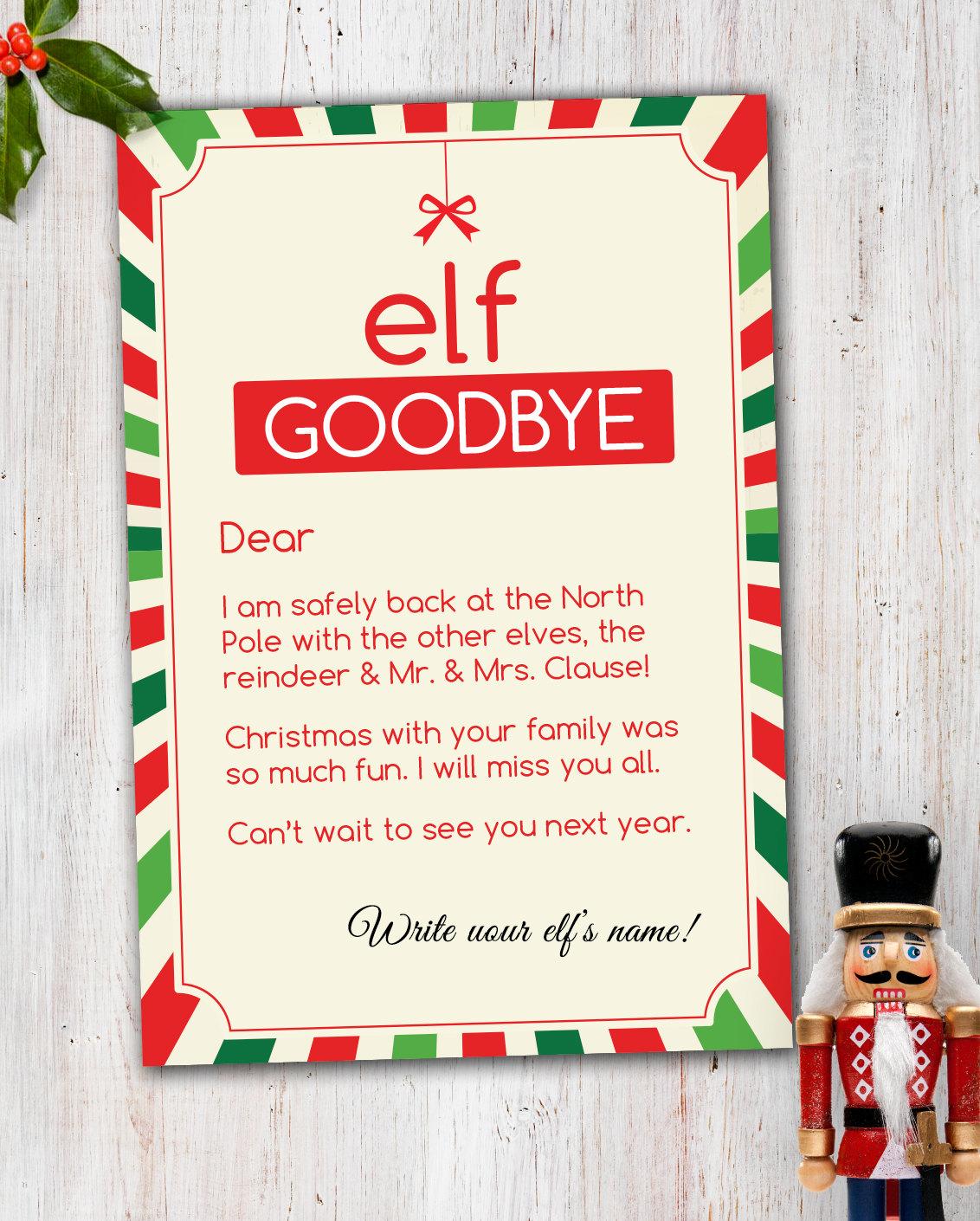 Elf goodbye letter – Goodbye Note