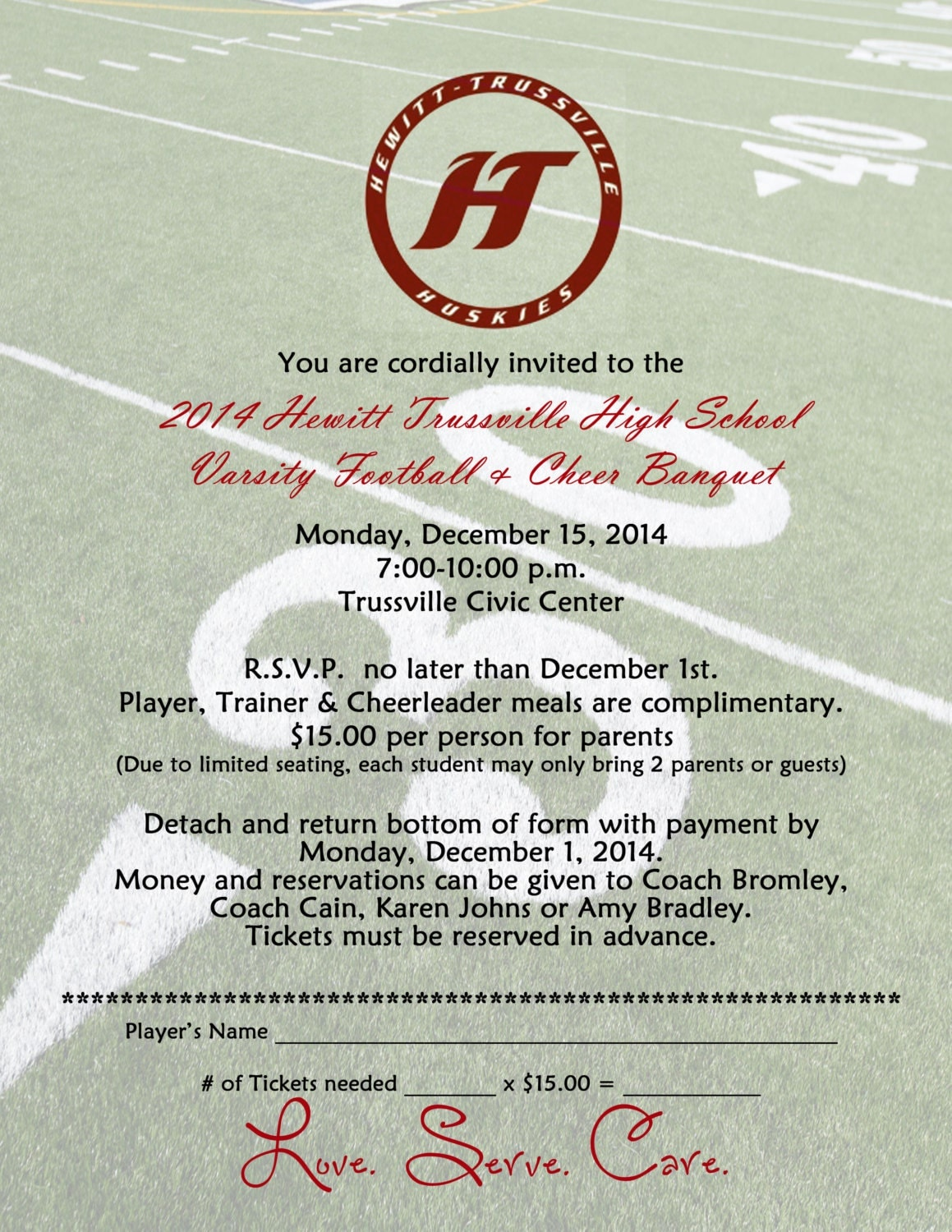 Football banquet Invitation Digital File Printable DIY