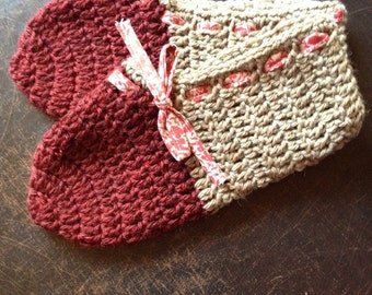 Red and Beige Crochet Slippers