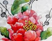 Bid red flower silk scarf. Hand painted red flower. Hand painted silk scarf. Ready to ship.