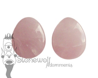 Rose Quartz Stone Teardrop Plugs for Stretched Ears Piercings Handmade Made to Order