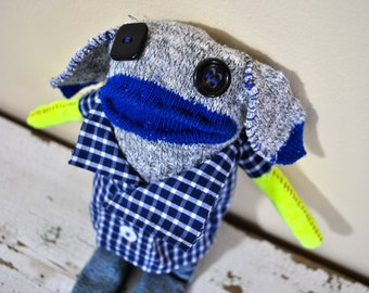 Sock Animal Puppy with Plaid Shirt and Jeans, Hand-stiched, Made with all Reclaimed Clothing, Whimsical and Quirky Rag Doll, Hipster, OOAK