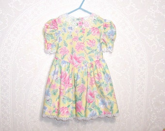 Size 3T - Little Girls' Dress - by Bryan -Toddler - Yellow, Pink, Green Floral - White Lace Collar - Easter - Made in USA