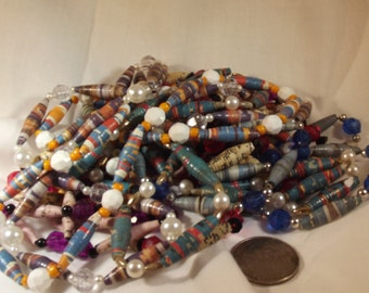 Necklaces LOT Of 6  Vintage Handmade Paper Beads Resin Beads Multiple Sizes Mixed Media Destash