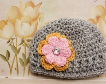 Newborn Baby Girl Flower Hat - Grey Baby Girl Hat - Spring Flower Hat