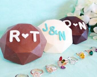 Personalized Diamond with Gemstone Ring - Chocolate Diamond with Beautiful Gemstone Ring, Unique Gift, Boyfriend gift
