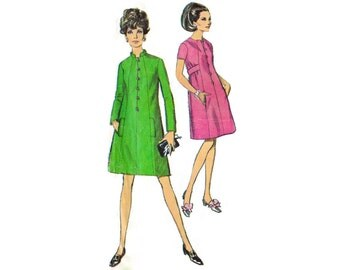 1960s Dress Pattern Simplicity 7427, Mod A-Line Dress with Shaped Seaming, Mandarin Collar, Belt, 1967 Vintage Sewing Pattern Bust 32.5