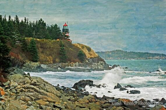 Photography, West Quoddy Head Lighthouse, Lighthouse, Maine, Landscape, Photo, Fine Art, Living Room Decor, Housewarming Gift, Home Decor