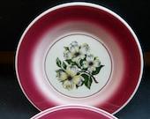 Sterling China, vintage Restaurant ware, diner, dogwood, floral, rose, maroon rim, small plates