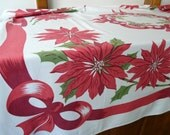 Vintage Christmas Tablecloth, heavy cotton, MCM cool