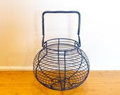 Vintage blue wire egg basket…rounded wire basket.