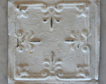 One Upcycled Antique Architectural Ceiling Tile - White Fleur Motif
