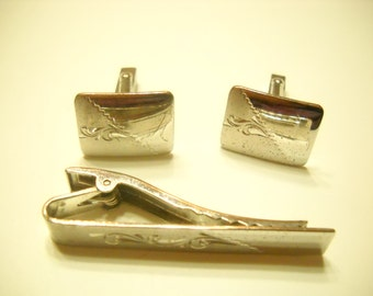 Vintage Marvel Sterling Tie Clip And Cuff Link Set (5494) Etched Leaves
