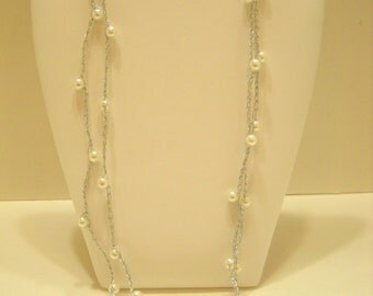 """Vintage Silver Tone String Chain, Faux Pearl 52"""" Necklace (7832**)"""