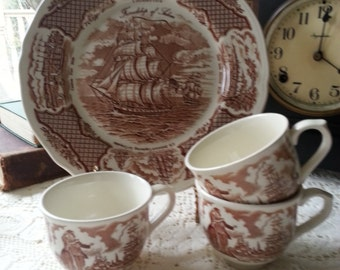 4 Piece Meakin Fair Winds Brown Transferware Set, made in England, English Transferware