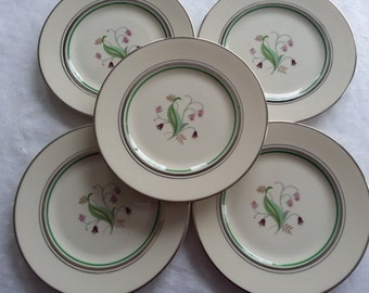 Set of 5 Syracuse Coralbel Bread and Butter Plates, Old Ivory, Shades of Pink florals, Platinum Trim, 1949-1967, Mid Century, Modern