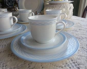 Martha Stewart, Tea Set for 6, made in France, Milk Glass Tea Set, White and Blue Tea Set, 20 Pieces