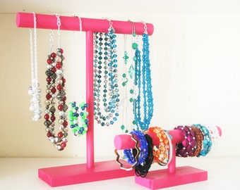 Jewelry Organziers - Set of 2 - Necklace Stand & Bracelet Holder - 30 Color Options!