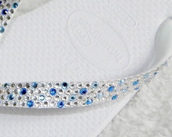 Custom Crystal Flip Flops Confetti design w/ Swarovski Rhinestone Bridal Beach wedding Havaianas flat or Cariris Wedge Heel Bling Grad Shoes