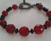 Ruby Red and Black Bracelet