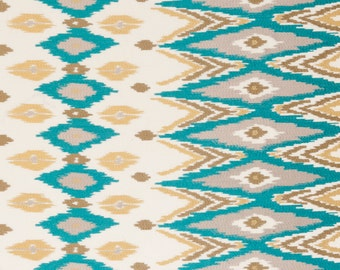 Turquoise Kilim Upholstery Fabric - Brown Blue Embroidered Ikat - Turquoise Blue Ikat Curtains - Kilim Roman Shade - Taupe Upholstery Fabric