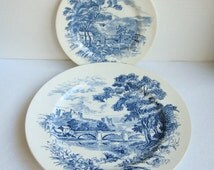 Wedgwood Countryside Plates, Vintage Blue and White Plates, English Dinnerware, Blue Transferware