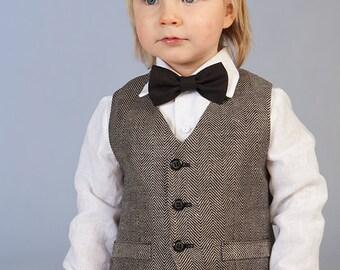 Boy linen vest Baby boy ring bearer vest Rustic wedding boy vest Boy formal vest  Baby boy photo prop black vest Baby boy natural vest