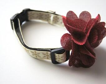 Red Burlap Flower Dog Collar Attachment