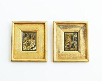 Vintage Framed Persian Miniature Paintings Iran