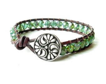 Leather wrap bracelet - turquoise faceted Picasso glass beads - silver leaf button
