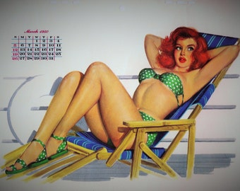 1950 MARCH Calendar Page from Esquire Girl Calendar Pinup Pin up Girl artist Al Moore Lounge Chair Gift