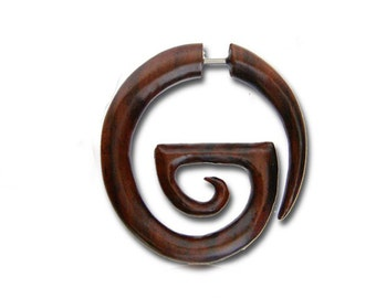"Fake Gauge Earrings - ""Elliptical Spiral"" Wood Earrings - Fake Plug - Hippie Boho Jewelry - Faux Piercing-Handmade Organic Wood Jewelry"