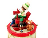 Vintage Christmas Musicbox, Wood Rocking Horse, Little Drummer Boy, Toys