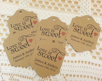 Love is Sweet - Wedding Favor Thank You Tags - Personalized - Bridal Shower - Baby Shower - Custom Quantities are Available WT015