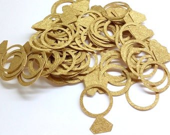 60 Sparkle Rings Die Cuts Confetti in Gold Luxurius Shiny Cardstock paper