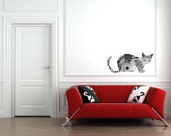 MODERN CAT wall STICKER / Wall Decal, Wall Sticker / Black and White Cat Wall Sticker / Free Shipping