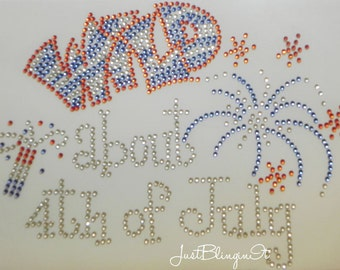 Wild about 4th of July Hot Fix Iron On Rhinestone Transfer Bling DIY