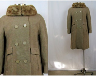 Vintage Coat | 1960s | Camel Forstmann Wool Coat with Mink Collar | Small
