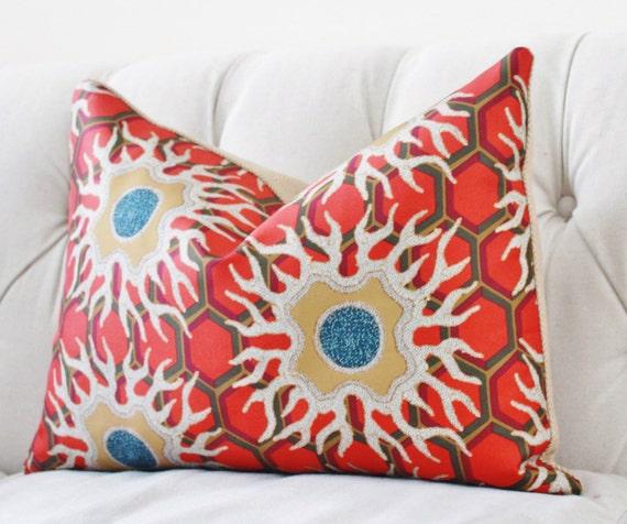 jim thompson pillow cover orange gold geometric