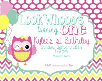 Look's Who's One Owl Birthday invitation