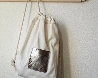 """Backpack """"Finje"""" // cotton & silver-brown-leather"""