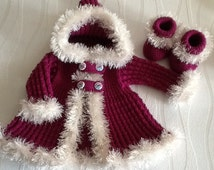 Hand knitted girls swing coat and booties. Beautiful fur trimmed coat. Baby girl  coat and booties 3-6 months. Made to order.